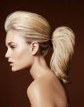 Crie volume no alto da cabeça e prenda todo o cabelo em um elástico fino.