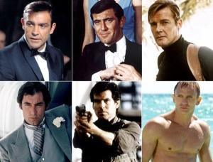 Em sentido horário: Sean Connery, George Lazenby, Roger Moore, Timothy Dalton, Pierce Brosnan e Daniel Craig (o atual 007)