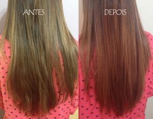 Confira os cabelos antes e depois de usar a Btulínica Capilar com Ouro 24K