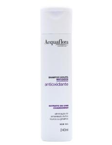 O Shampoo Antioxidante Violeta Matizador, da Acquaflora, neutraliza os tons loiros e preserva a tonalidade das suas madeixas claras