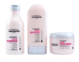 Linha L'oréal Professional Vitamino Color, com sistema dupla proteção de cor com Incell hydro-resist, Vitamina E, antioxidante, filtro UV e magnésio