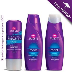 Kit Aussie Moist possui três itens da marca de cosméticos australiana: Aussie Shampoo, Aussie Condicionador e a máscara Aussie 3 Minute Miracle